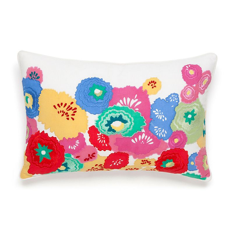 Collier Campbell English Bloom Floral Embroidered Throw Pillow