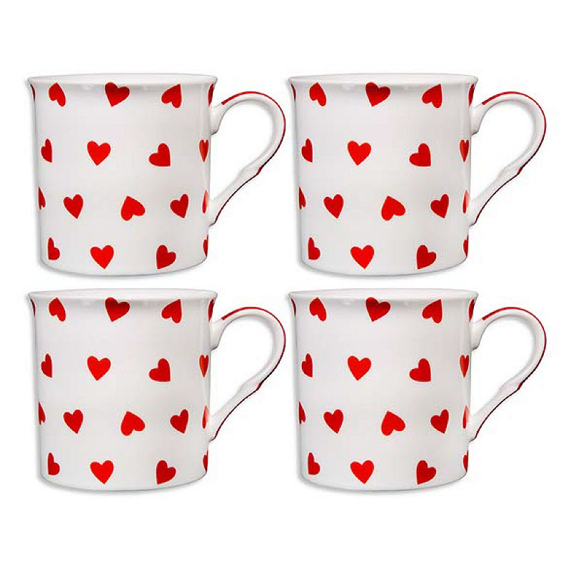 Home Essentials 4-pc. Red & White Hearts Mug Set