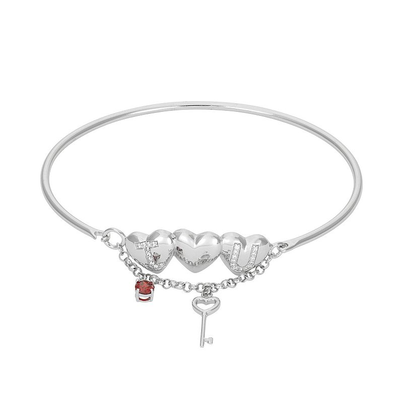 Cubic Zirconia Sterling Silver Heart and Key Charm Bangle Bracelet, ...