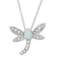 Lab-Created Opal & Crystal Sterling Silver Dragonfly Pendant Necklace