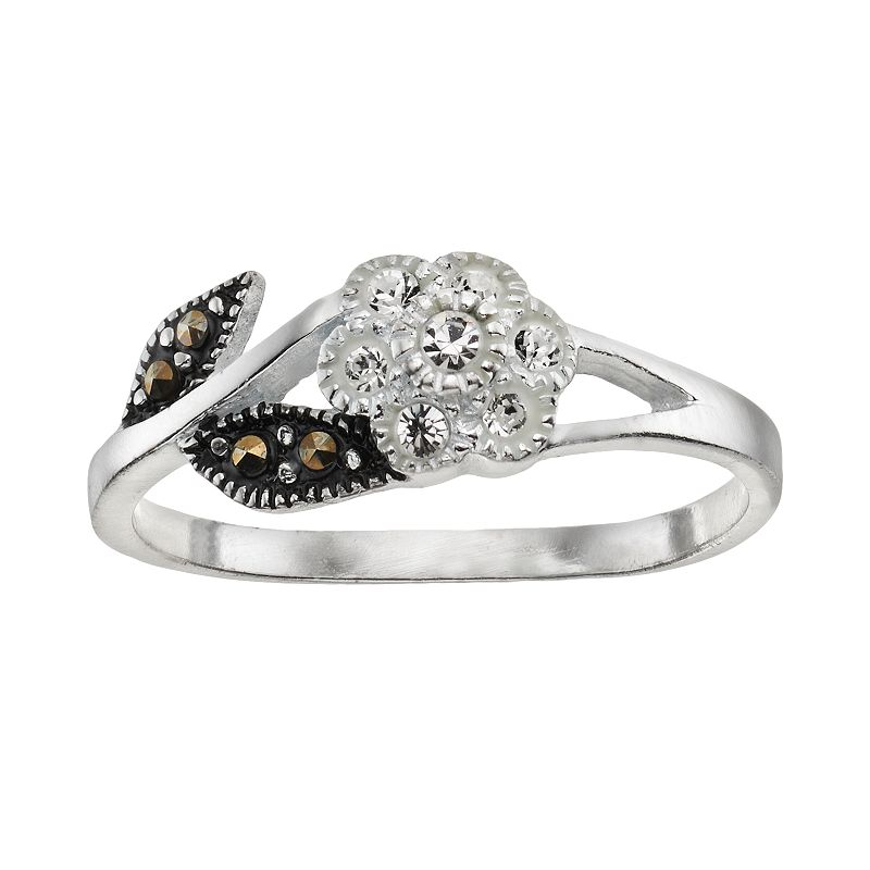 Marcasite & Crystal Sterling Silver Flower Ring
