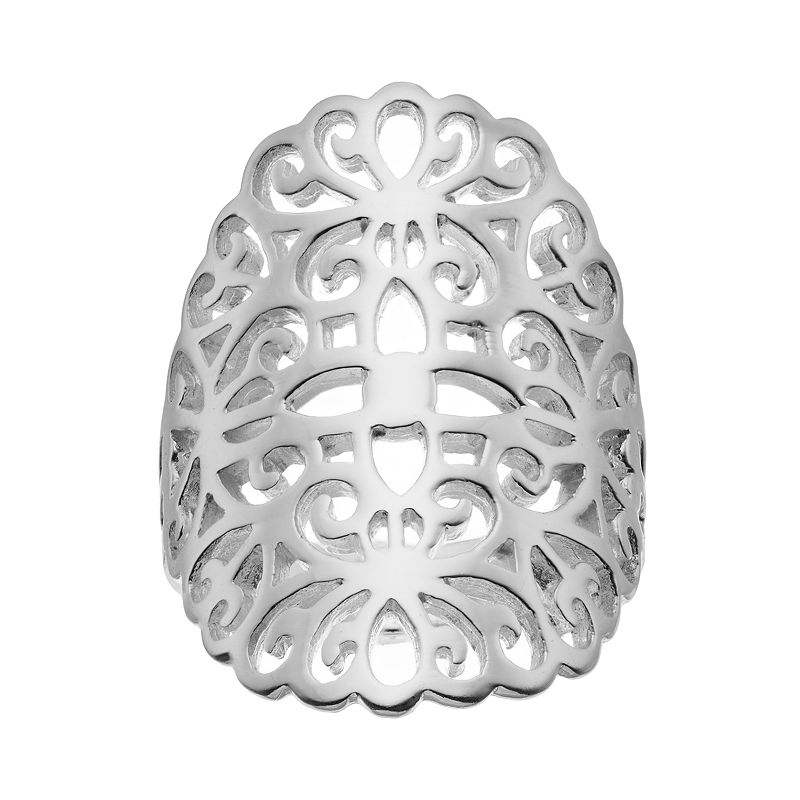 Silver-Plated Filigree Ring