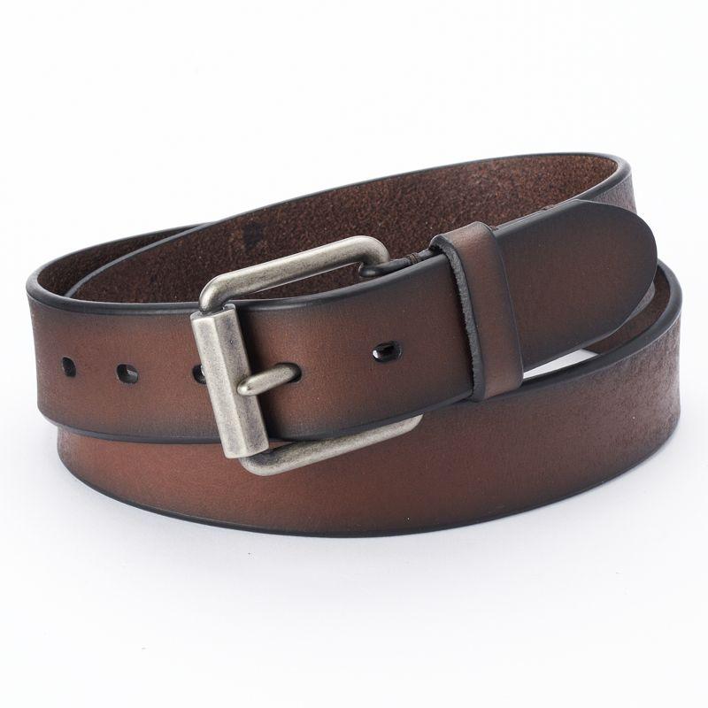 Levi's Beveled Roller-Buckle Brown Leather Belt - Men