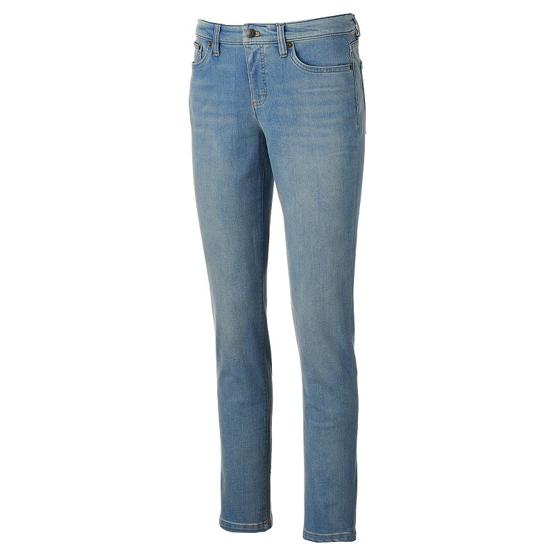 Women's Chaps Light Wash Curvy Fit Skinny Jeans