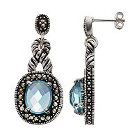 Le Vieux Glass & Marcasite Silver-Plated Halo Drop Earrings