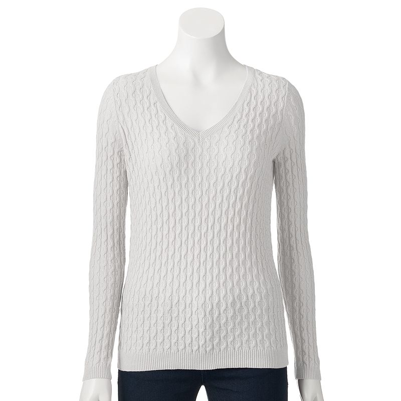 Women's SONOMA Goods for Life™ Cable-Knit V-Neck Sweater