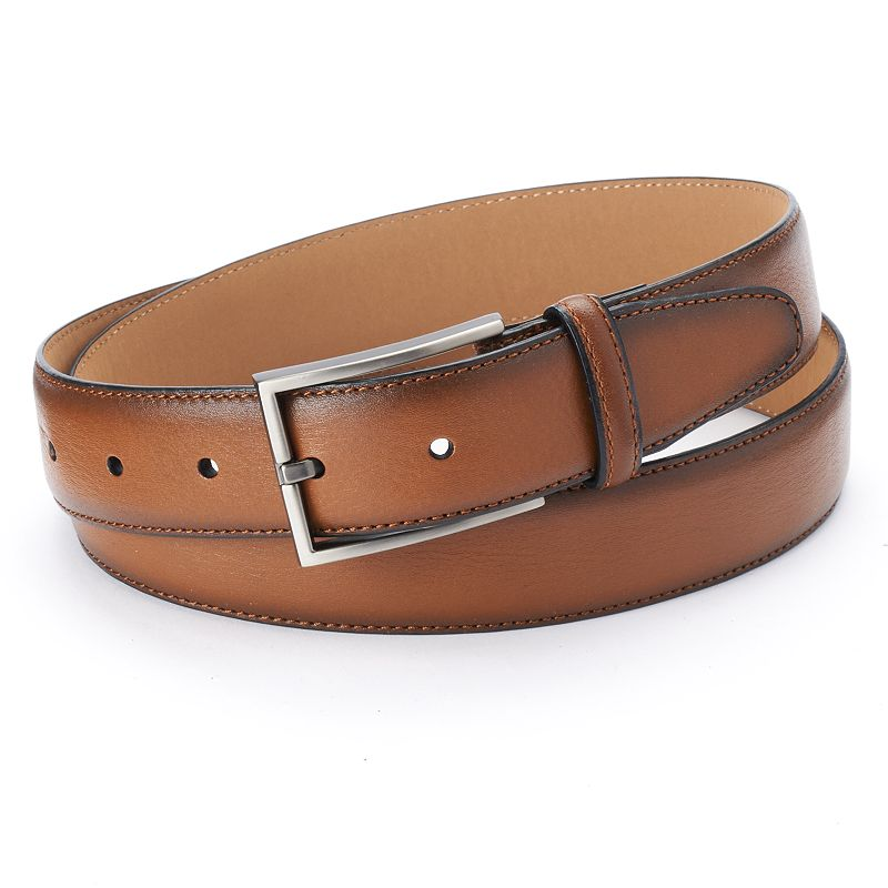 Dockers® Feather-Edge Stitched Tan Leather Belt - Men