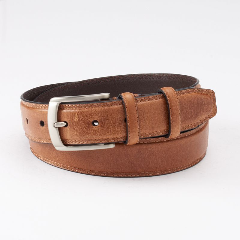 Men's Dockers® Brown Drop-Edge Stitched Leather Belt