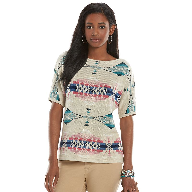 Petite Chaps Tribal Dolman Sweater