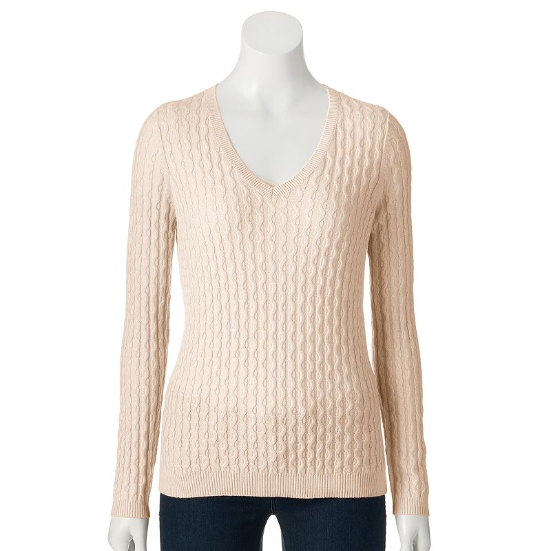 Petite SONOMA Goods for Life™ Cable-Knit V-Neck Sweater