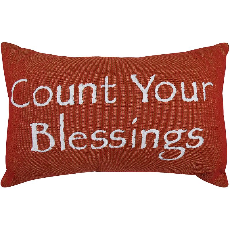 Park B. Smith ''Count Your Blessings'' Red Throw Pillow
