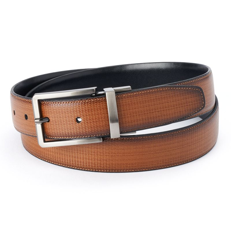 Men's Apt. 9 Tan & Black Textured Reversible Belt