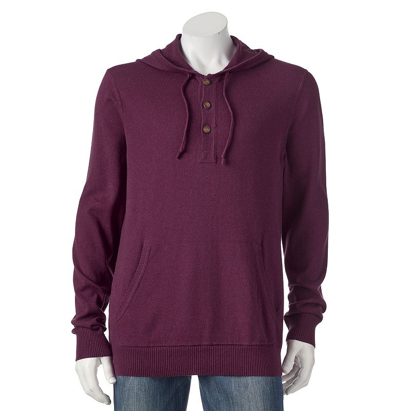 Big & Tall SONOMA Goods for Life™ ¨ Classic-Fit Solid Fine Gauge Henley Hoodie