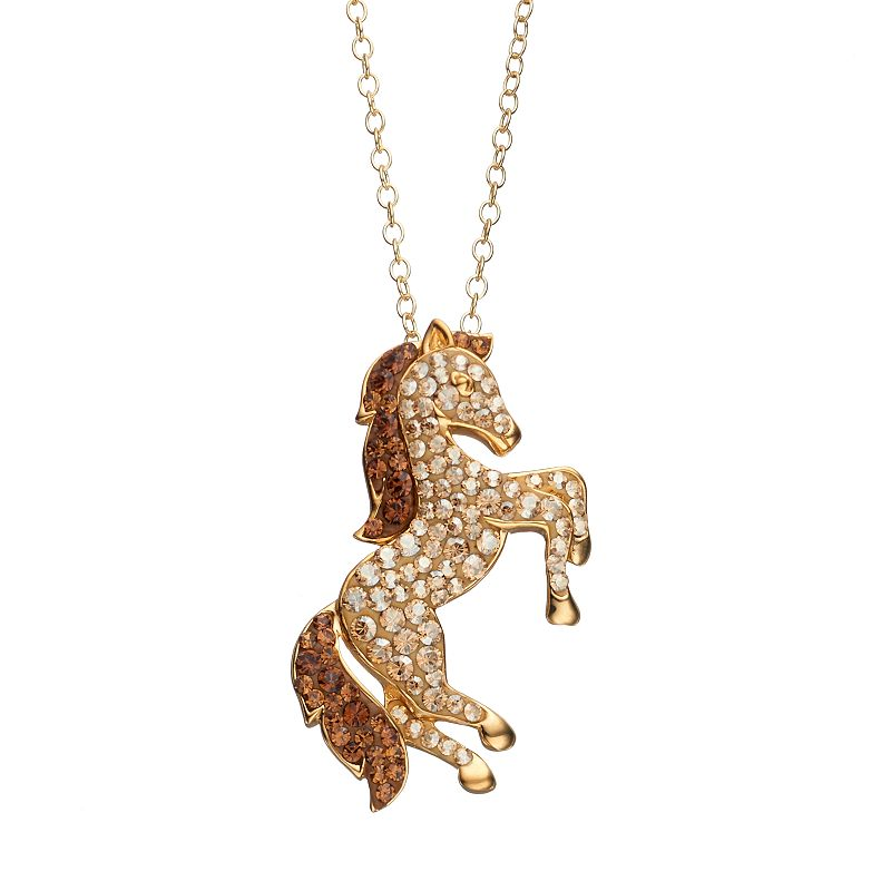 Artistique Crystal 18k Gold Over Silver Horse Pendant Necklace - Made with Swarovski Crystals