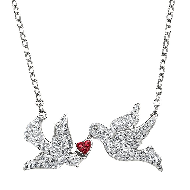 Artistique Crystal Sterling Silver Dove & Heart Necklace - Made with Swarovski Crystals