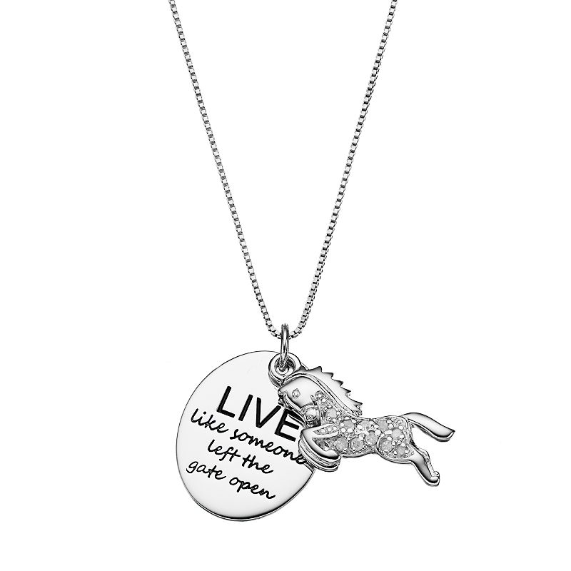 CHARMED BY DIAMONDS 1/10 Carat T.W. Diamond Sterling Silver Inspirational Horse & Disc Pendant Necklace