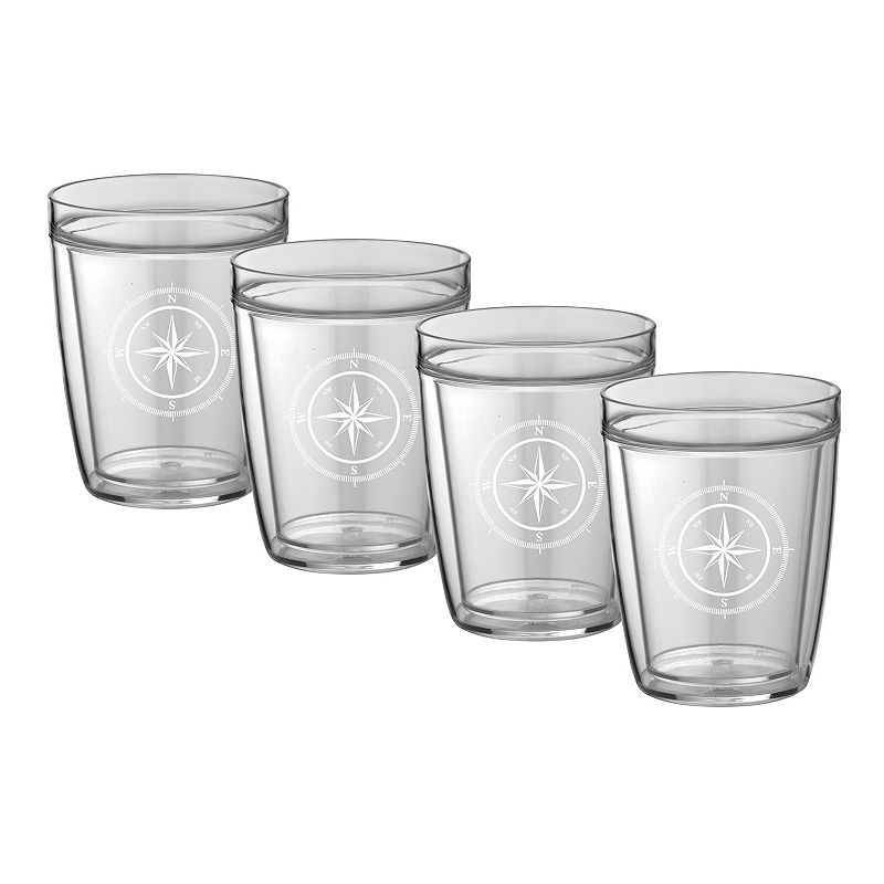 Kraftware Compass Point 14-oz. Double-Wall 4-pc. Drinkware Set