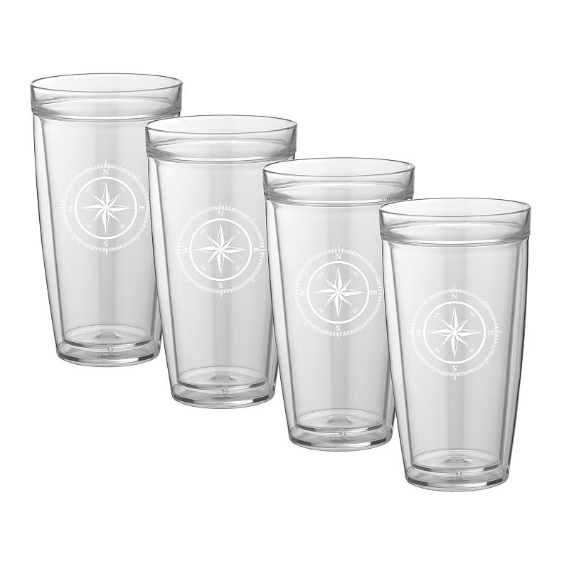 Kraftware Compass Point 22-oz. Double-Wall 4-pc. Drinkware Set