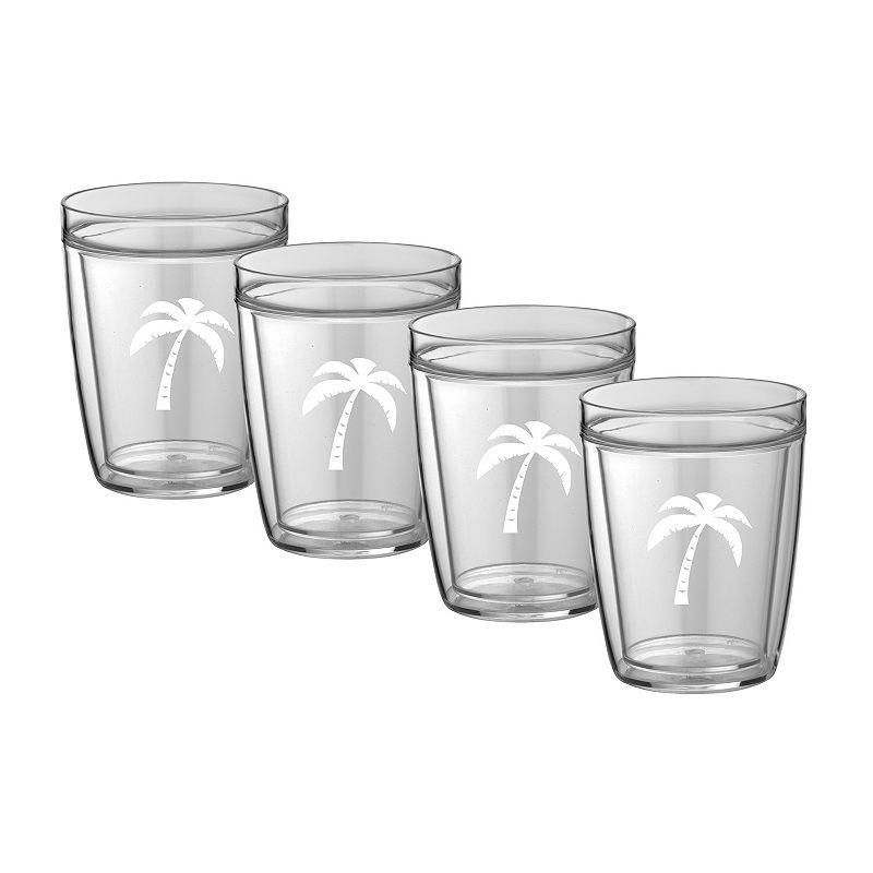 Kraftware Palm Tree 14-oz. Double-Wall 4-pc. Drinkware Set