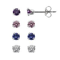 Charming Girl Sterling Silver Stud Earring Set - Made with Swarovski Cubic Zirconia - Kids
