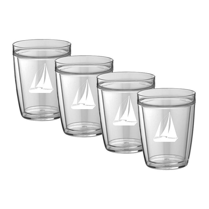 Kraftware Sailboat 14-oz. Double-Wall 4-pc. Drinkware Set