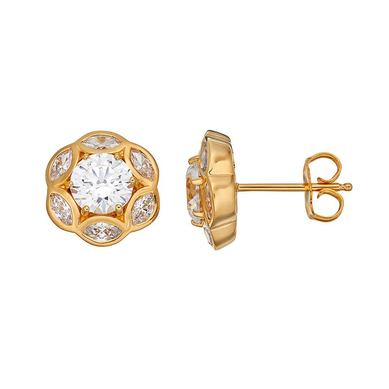 Emotions 18k Gold Over Silver Flower Stud Earrings - Made with Swarovski Cubic Zirconia