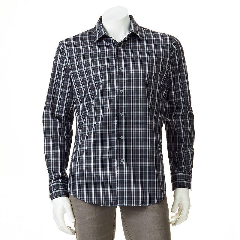 Men's Apt. 9® Modern-Fit Work Week Dobby-Plaid Casual Button-Down Shirt