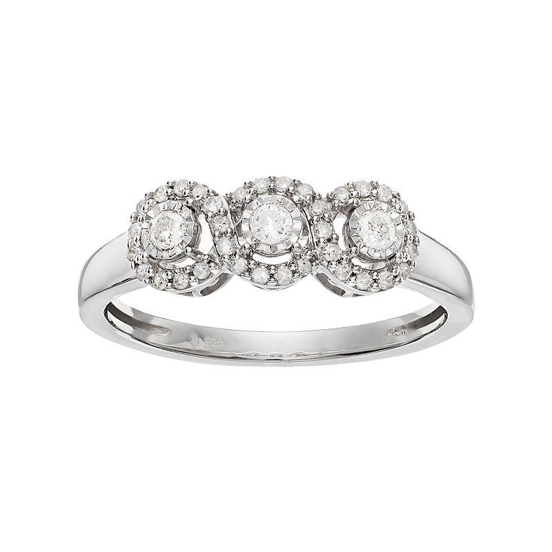 1/4 Carat T.W. Diamond Sterling Silver 3-Stone Infinity Ring