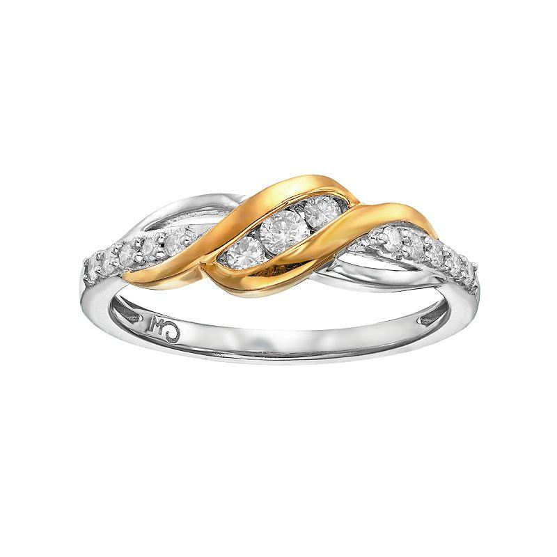 1/4 Carat T.W. Diamond 14k Gold Over Silver & Sterling Silver Swirl Ring