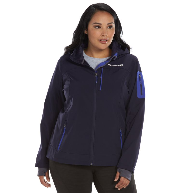 Plus Size Free Country Hooded Soft Shell Jacket, Women's, Size: 1X, Purple