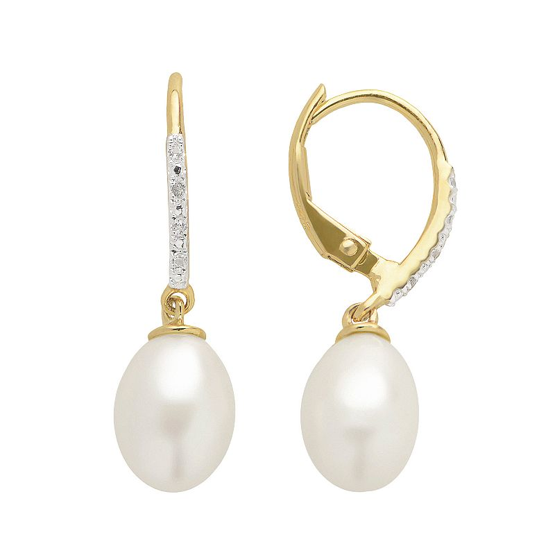 PearLustre by Imperial Freshwater Cultured Pearl & White Topaz 14k Gold Over Silver Drop Earrings
