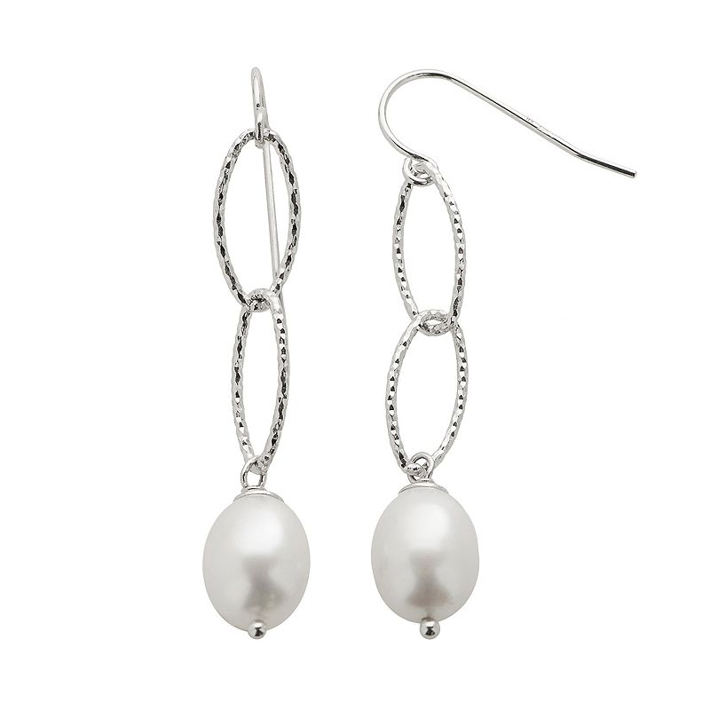 PearLustre by Imperial Freshwater Cultured Pearl Sterling Silver Textured Oval Link Drop Earrings
