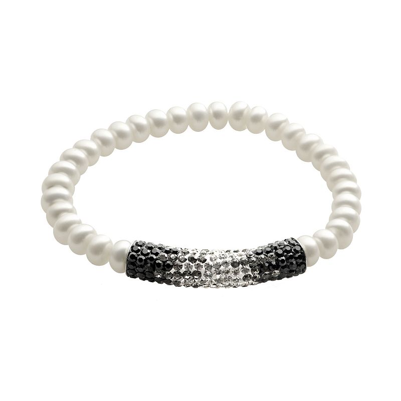 PearLustre by Imperial Freshwater Cultured Pearl and Crystal Sterling Silver Ombre Stretch Bracelet