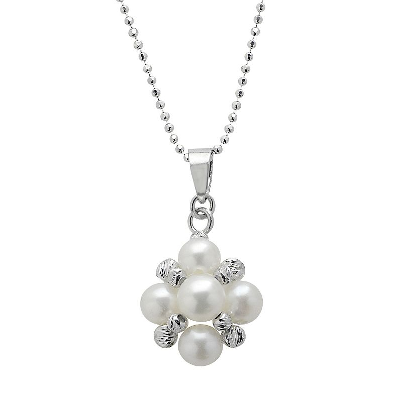 PearLustre by Imperial Freshwater Cultured Pearl Sterling Silver Cluster Pendant Necklace