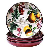 Certified International Botanical Fruit 4-pc. Soup Bowl Set