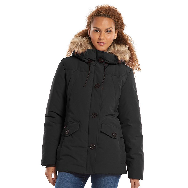 Womens Fur Trim Coat Kohl S