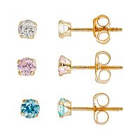 Charming Girl 14k Gold Stud Earring Set - Made with Swarovski Cubic Zirconia - Kids