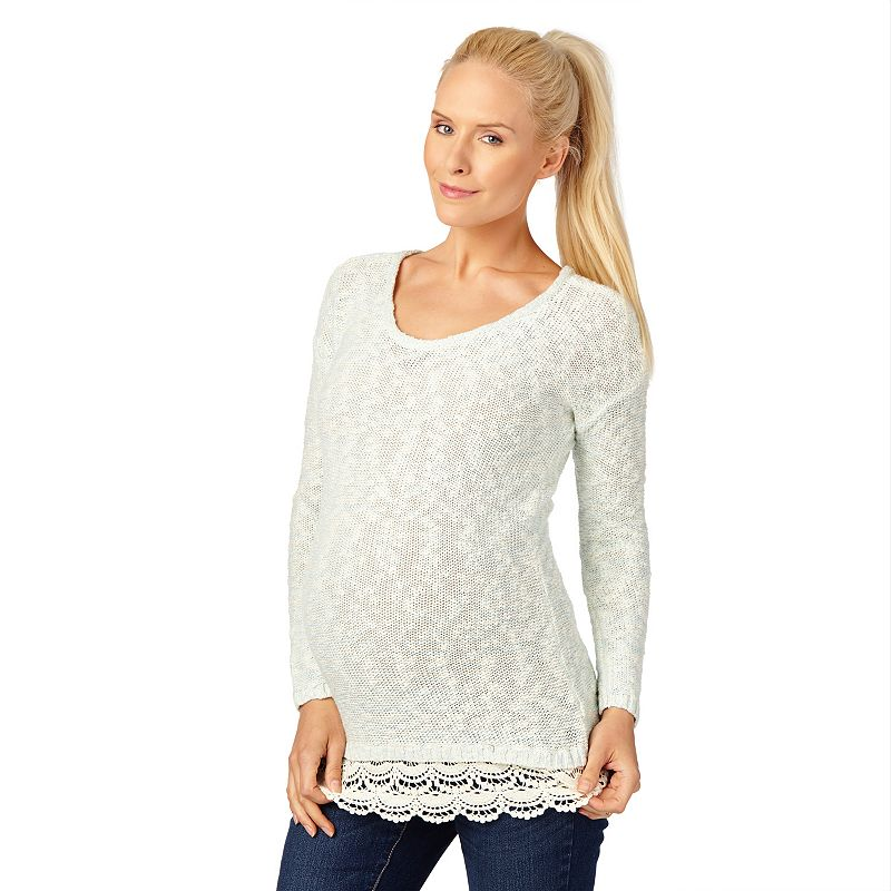 Maternity Oh Baby by Motherhood™ Lace-Trim Scoopneck Sweater