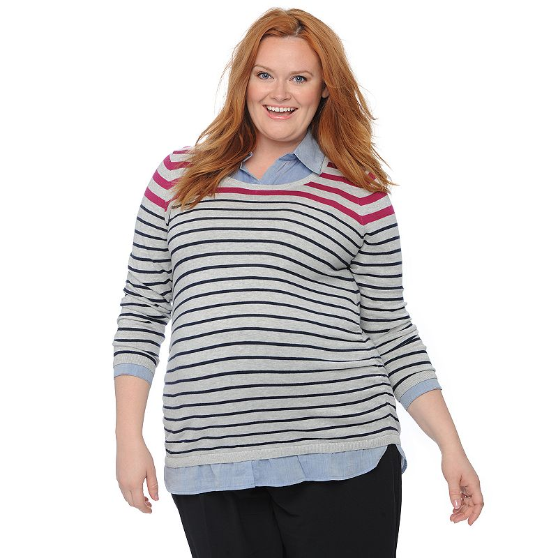 Plus Size Maternity Oh Baby by Motherhood™ Mock-Layer Scoopneck Sweater
