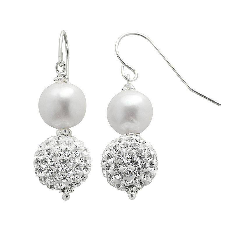 PearLustre by Imperial Freshwater Cultured Pearl & Crystal Sterling Silver Drop Earrings