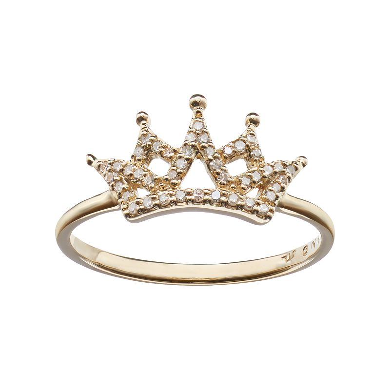 1/8 Carat T.W. Diamond 10k Gold Crown Ring