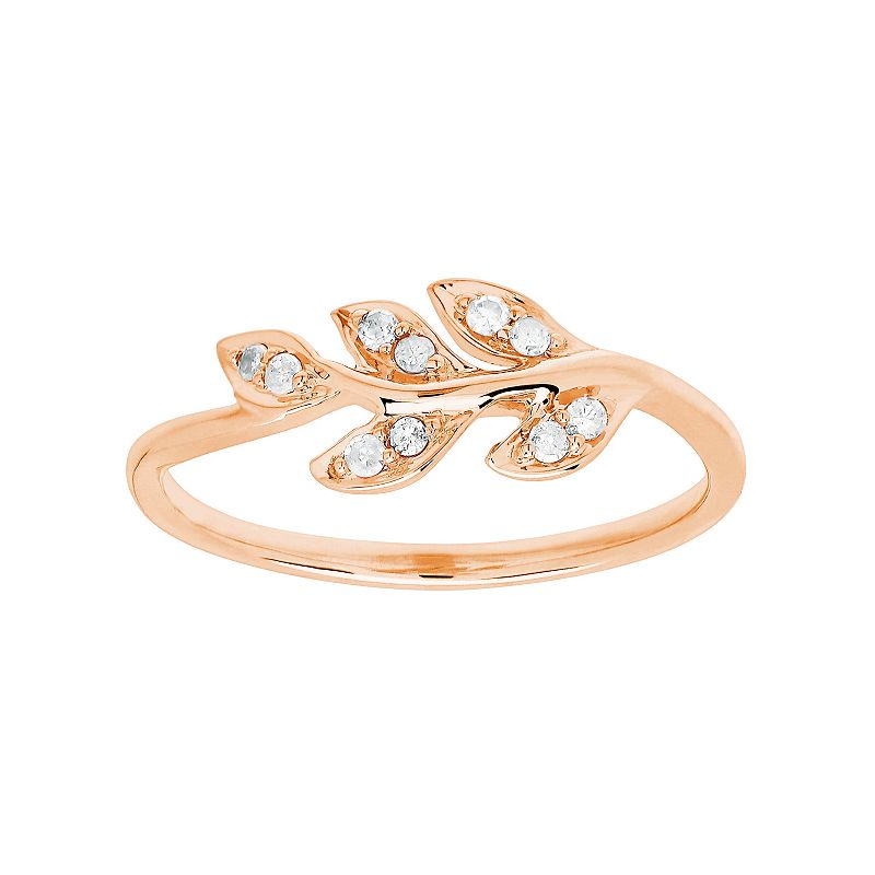 1/10 Carat T.W. Diamond 10k Rose Gold Leaf Ring