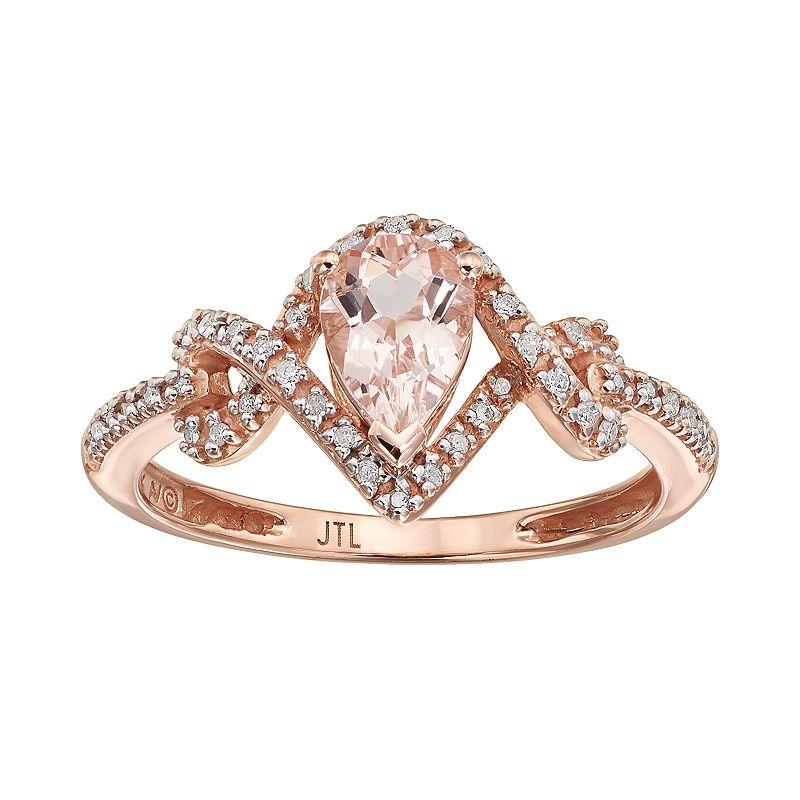 Morganite& 1/8 Carat T.W. Diamond 10k Rose Gold Teardrop Ring