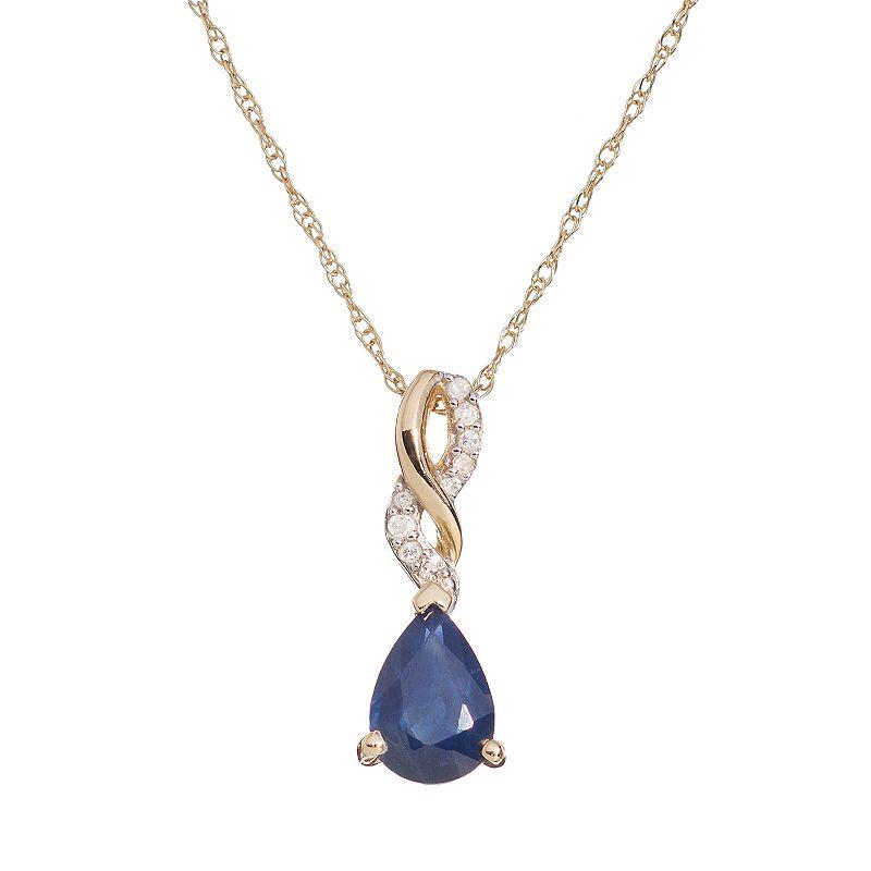 Sapphire & Diamond Accent 10k Gold Twist Pendant Necklace