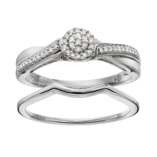 Always Yours Sterling Silver 1/6 Carat T.W. Diamond Halo Engagement Ring Set