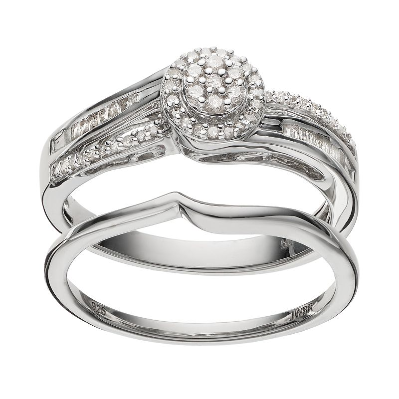 Always Yours Sterling Silver 1/4 Carat T.W. Diamond Halo Engagement Ring Set