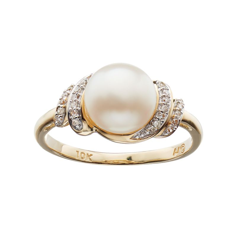 Freshwater Cultured Pearl & Diamond Accent 10k Gold Swirl Ring