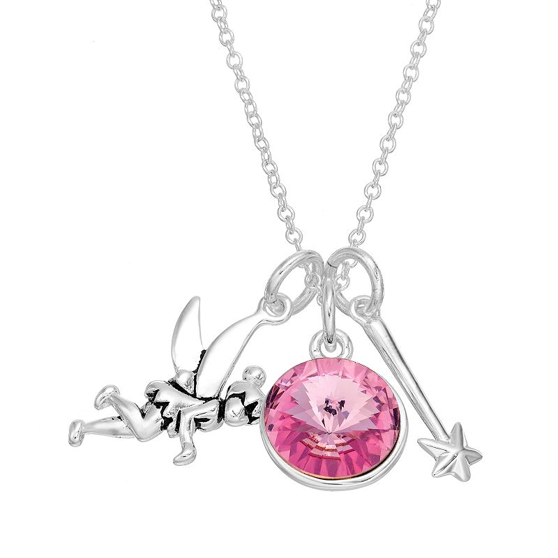 Disney's Tinker Bell Crystal Silver-Plated Charm Necklace - Made with Swarovski Elements