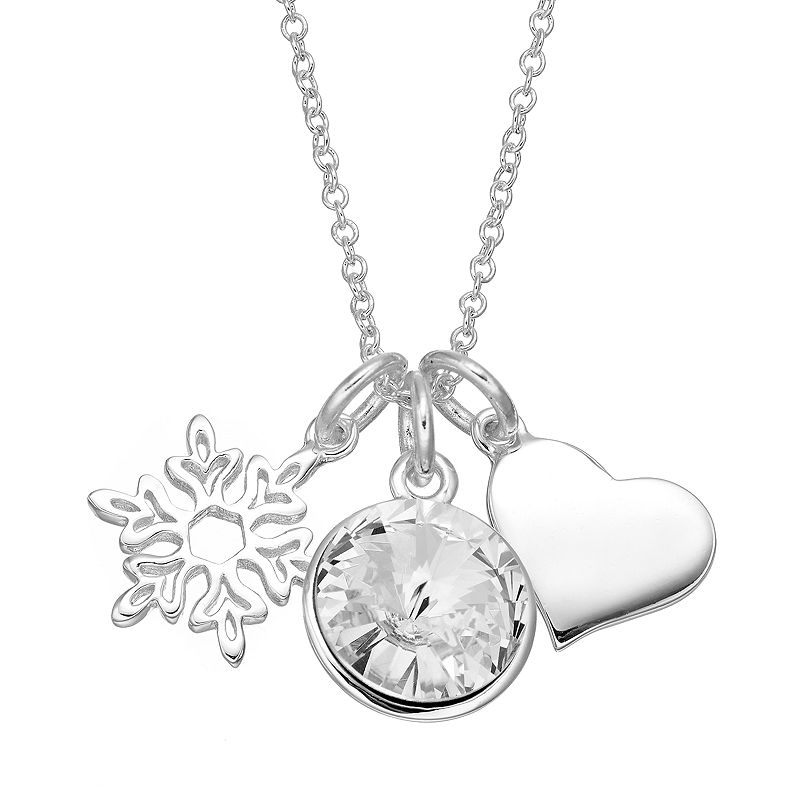Disney's Frozen Crystal Silver-Plated Charm Necklace - Made with Swarovski Elements
