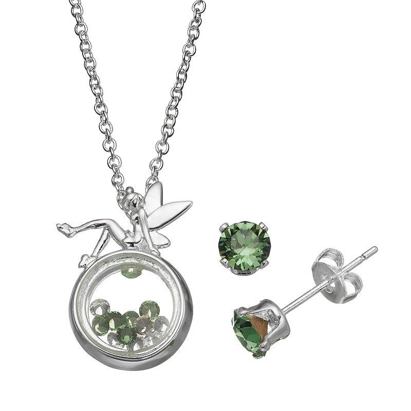 Disney's Tinker Bell Floating Charm Pendant & Crystal Stud Earring Set - Made with Swarovski Elements